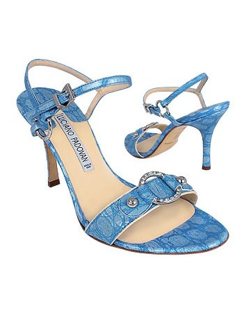 Blue crocodile embossed leather sandals by Luciano Padovan
