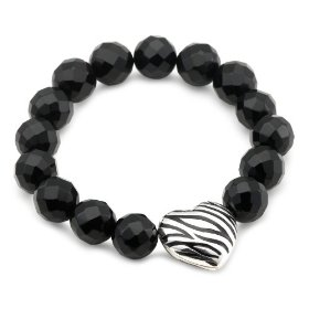 Sterling Silver Zebra Heart Bracelet by David Sigal