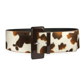 Ladies Cow Print Animal Fur Wide Belt