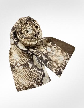 Cavalli Snake Skin Printed Reversible Silk Stole