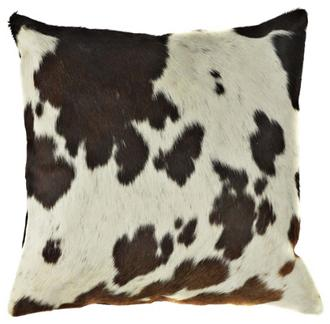 Cow Print Leather Decorative Throw Pillows &#8211; Set of Two
