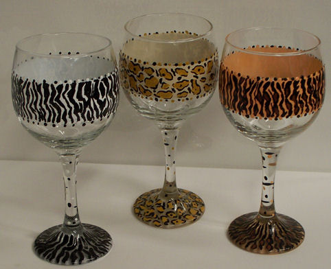 Donna Dewberry's one stroke technique painted goblets