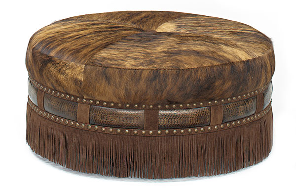 Cocktail ottoman in Cow print hide