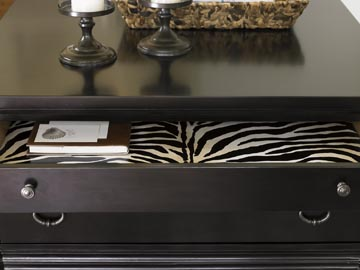 hand-painted zebra stripe in drawer