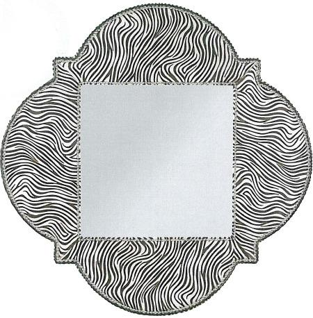 Vanguard Furniture upholstered mirror in Zebra leather