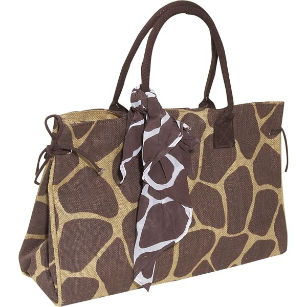 Earth Axxessories Giraffe Jute Tote Bag