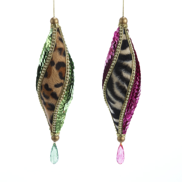 sequins animal print ornaments