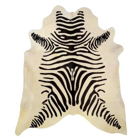 Zebra Black Stripes Brazilian Cowhide Rug