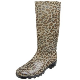 Adi Designs Womens Leopard Animal Print Rain Boots