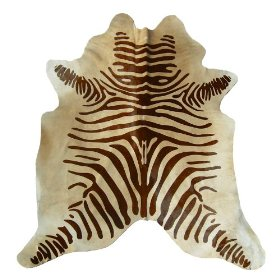 Zebra Brown And Beige Cowhide Rug