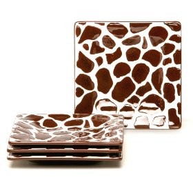 Laurie Gates Safari Giraffe Appetizer Plates, Set of 4