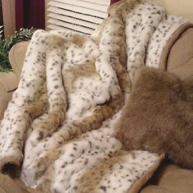 Lynx Faux Fur Animal Print Throw with Silky Camel Colored Short Pile Faux Fur