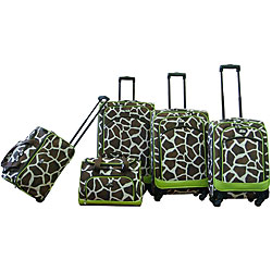 American Flyer Giraffe Print 5-piece Spinner Luggage Set Green Trim