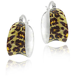 Sterling Silver Enamel Leopard Print Hoop Earrings