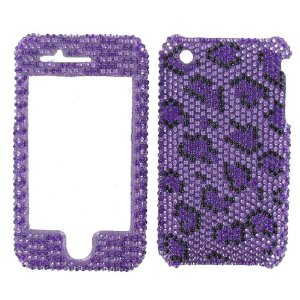 Apple Iphone Cover Purple & Black Leopard Cheetah Print Diva Crystals