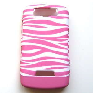 RIM Blackberry Storm 9530 Thunder 9500 Hard Case Leather Cover Pink Zebra