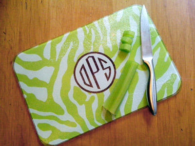 Clairebella Personalized Cutting Board Zebra