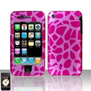 Pink Giraffe Design Hard Cover Protector Faceplate for AT&T Apple Iphone