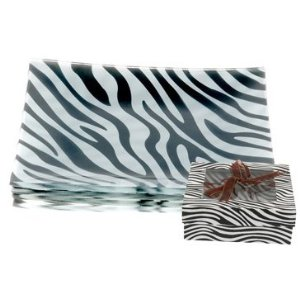 Appetizer and Dessert Plates Zebra Print Set of 4