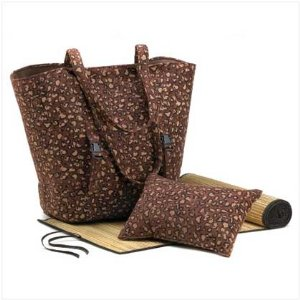 Leopard Print Beach Combo Tote and Bamboo Mat