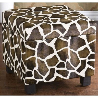 Giraffe Animal Print Storage Ottoman