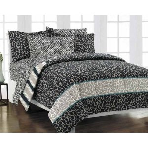 Animal Print Reversible Neutral Gray Bed in a Bag