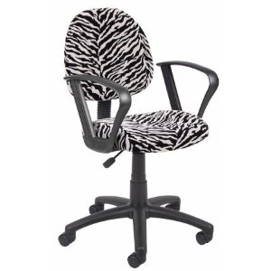 Boss Norstar Zebra Print Office Desk Chair with Loop Arms