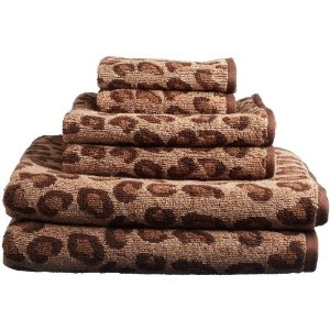 Divatex Home Fashions 6-Piece Leopard Jacquard Towel Set