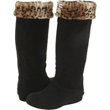 Hunter – Welly Sock with Leopard Spot Cuff (Leopard/Black) – Hosiery
