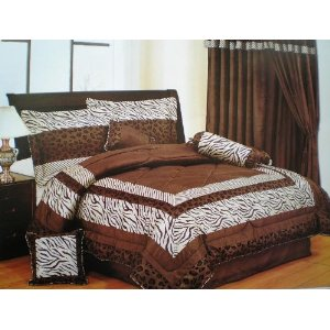 Safari Zebra 7 Pieces Brown King Comforter Set Bedding in a Bag