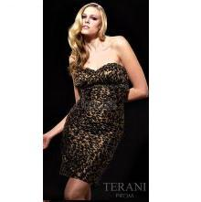 Terani Cheeath Animal Print Homecoming Dress