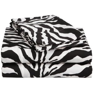 Sent Sation Zebra Twin XL Sheet Set Chocolate/Ivory