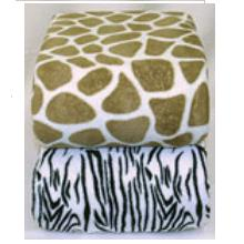 Giraffe And Zebra Animal Print Microplush Fleece Blanket