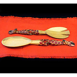 Set of 2 Hand-carved Giraffe Salad Tongs