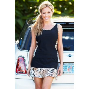 Tennis Skirt with tiger print ruffle