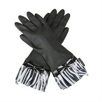 Gloveables® Black Fashion Gloves with Zebra Cuff and Bow
