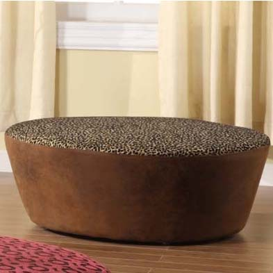 Leopard Print And Faux Leather 40″ Round Ottoman