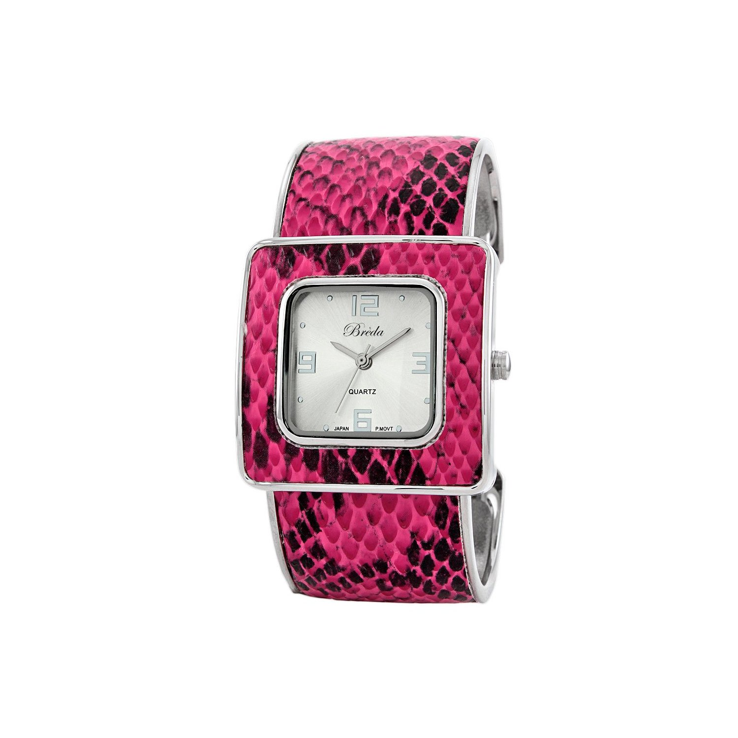 Breda Pink Snake Skin Leather Bangle Watch