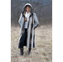 Chinchilla Hooded Full Length Faux Fur Coat