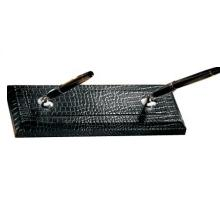 Double Pen Stand CC – Black Croco Leather