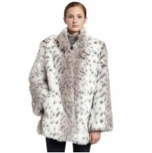 ABS By Allen Schwartz Womens Faux Fur Badger Car Coat