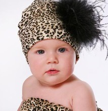 Leopard Print Black Curly Marabou Baby Hat