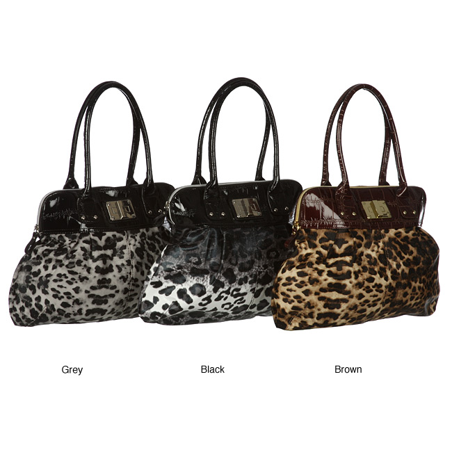 Leopard Croco Dome Satchel Handbag