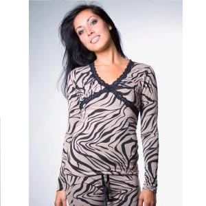 PJ Salvage Kenya Zebra Lounge Top