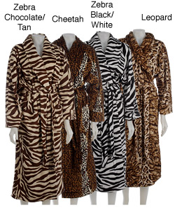 Plush Animal Print Bath Robe