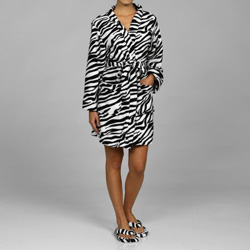 Zebra Print Women's Plush Robe Set
