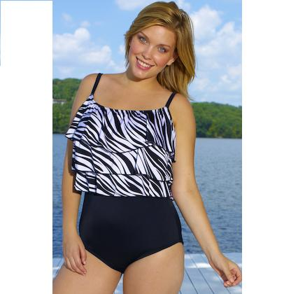 Zebra Triple Tier One Piece Plus Size Swimwear by Longitude®