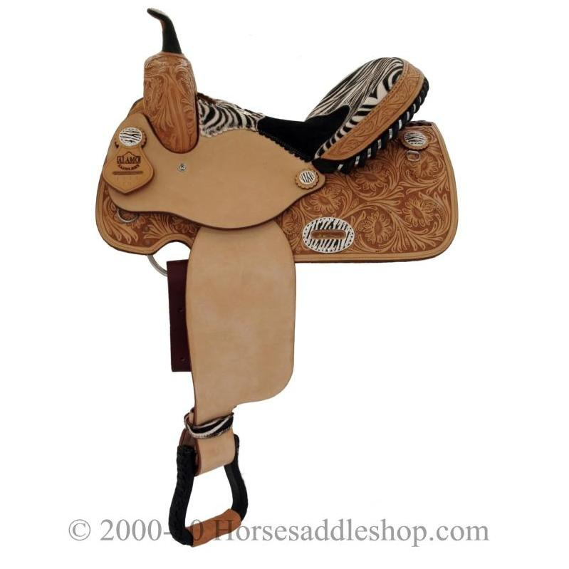 14-15″ Alamo Zebra Barrel Racing Saddle
