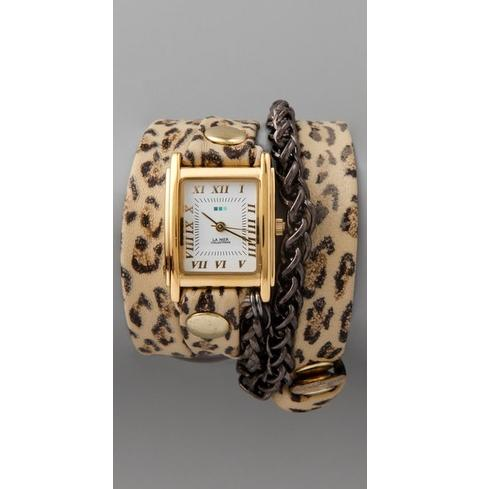 La Mer Collections Leopard Motor Chain Wrap Watch