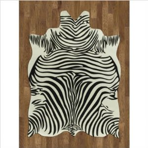Animal Hide Zebra White / Black Novelty Rug